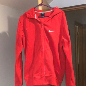 Nike Red hoodie with front zipper